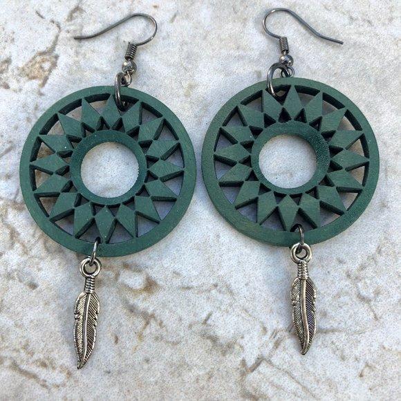 KTBeads (handmade) Jewelry - Wood Boho Feather Earrings NWOT